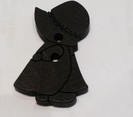 Knopf- Mädchen dunkelbraun (10 STK)